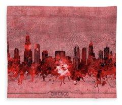 Chicago Skyline Vintage 3 Fleece Blanket
