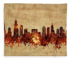 Chicago Skyline Vintage Fleece Blanket