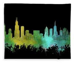 Chicago Skyline Watercolor 3 Fleece Blanket