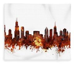 Chicago Skyline Watercolor 6 Fleece Blanket