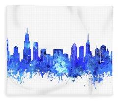 Chicago Skyline Watercolor Blue Fleece Blanket