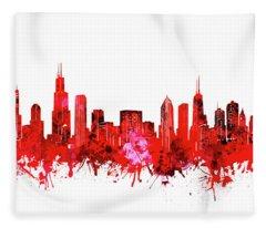 Chicago Skyline Watercolor Red Fleece Blanket