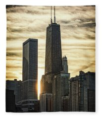Chicago Sunset Fleece Blanket