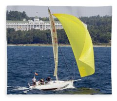Chicago To Mackinac Yacht Race Sailboat With Grand Hotel Fleece Blanket