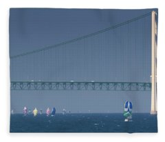 Chicago To Mackinac Yacht Race Sailboats With Mackinac Bridge Fleece Blanket