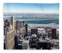 Chicago View Angled Fleece Blanket