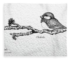 Chickadee On A  Branch Fleece Blanket