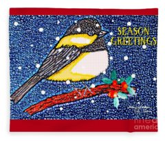 Chickedee Season Greeting Card  Fleece Blanket