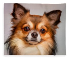 Chihuahua Dog Portrait Fleece Blanket