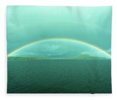 Chilean Fjord Rainbow Fleece Blanket