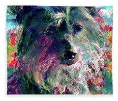 Chinese Crested Dog In The Garden Fleece Blanket