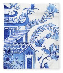 Chinoiserie Blue And White Pagoda Floral 1 Fleece Blanket