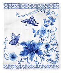 Chinoiserie Blue And White Pagoda With Stylized Flowers Butterflies And Chinese Chippendale Border Fleece Blanket