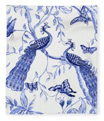 Chinoiserie Blue And White Peacocks And Butterflies Fleece Blanket