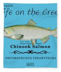 Chinook Salmon Disrupted Fleece Blanket