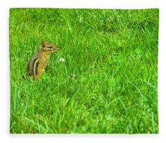 Chipmunk And The Flower Fleece Blanket