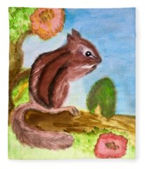 Chipmunk By Dee Fleece Blanket