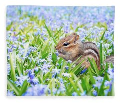 Chipmunk On Flowers Fleece Blanket