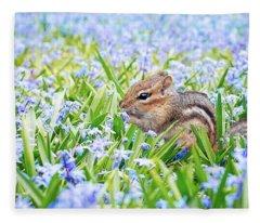 Chipmunk On Flowers Fleece Blanket