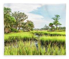 Chisolm Island - Marsh At Low Tide Fleece Blanket