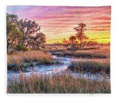 Chisolm Island Marsh Sunset Fleece Blanket