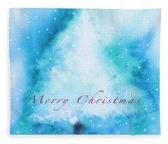Christmas Card Winter Tree  Fleece Blanket