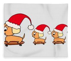 Christmas Dogs On Skateboards Fleece Blanket