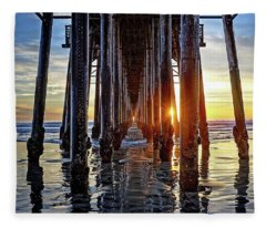 Christmas Eve At The Pier Fleece Blanket