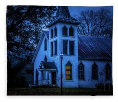 Church At Night Fleece Blanket