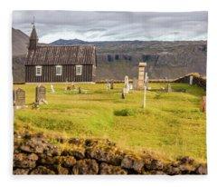 Church Cemetery Of Iceland Fleece Blanket