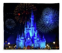 Cinderella Castle Fireworks Fleece Blanket