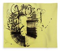 Circulation. Calligraphic Abstract Fleece Blanket