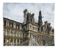 City Hall Hotel De Ville Paris France Fleece Blanket