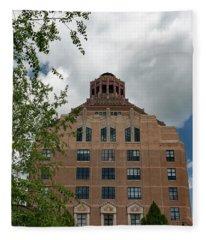 City Hall Of Asheville Fleece Blanket