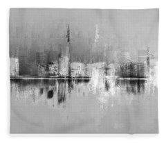 City In Black Fleece Blanket