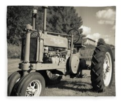 Classic Old Tractor Stowe Vermont Square Fleece Blanket