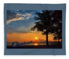 Cleveland Sign Sunrise Fleece Blanket