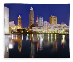 Cleveland Skyline At Dusk Rock Roll Hall Fame Fleece Blanket