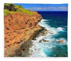 Cliff On Pacific Ocean Fleece Blanket