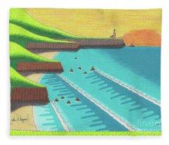 Cliffside Sunset  Fleece Blanket
