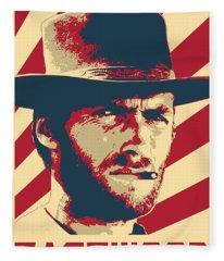 Clint Eastwood Retro Propaganda Fleece Blanket