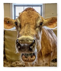 Close Up Of A Jersey Dairy Cow Fleece Blanket