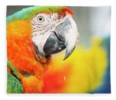 Close Up Of The Macaw Bird. Fleece Blanket