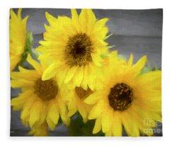 Cloud Of Sunflowers Fleece Blanket