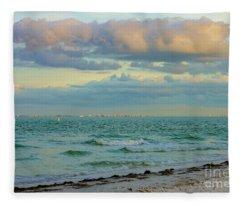Clouds Over Sanibel Beach Fleece Blanket