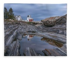 Cloudy Afternoon At Pemaquid Point Fleece Blanket