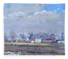 Cloudy Day At The Farm Fleece Blanket