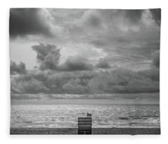 Fleece Blanket featuring the photograph Cloudy Morning Rough Waves by Steve Stanger