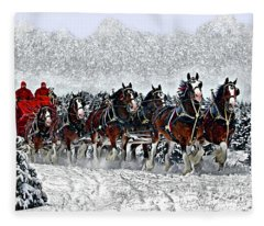 Clydesdales Hitch In Snow Fleece Blanket
