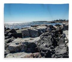 Coastline Of Maine Fleece Blanket